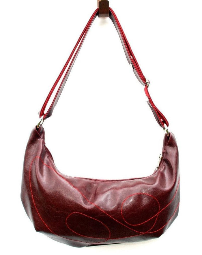 Womens Hobo Purse - Foxtrot Medium Topstitch Hobo Bag - Wine Vegan Leather