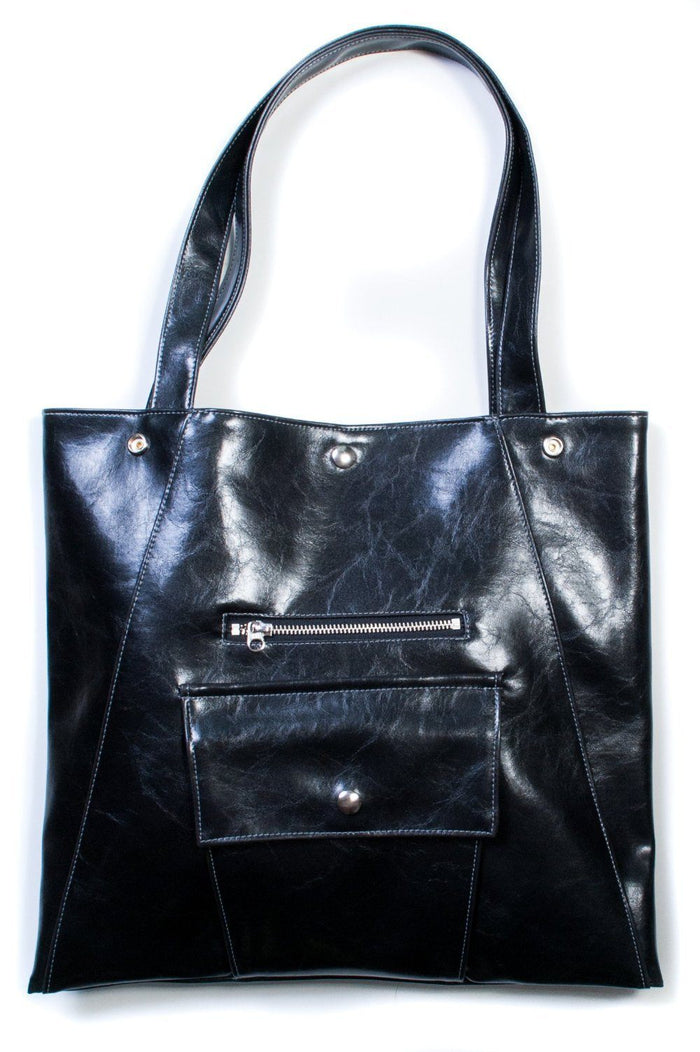 Womens Tote Bag - Metier Tote - Black Vegan Leather