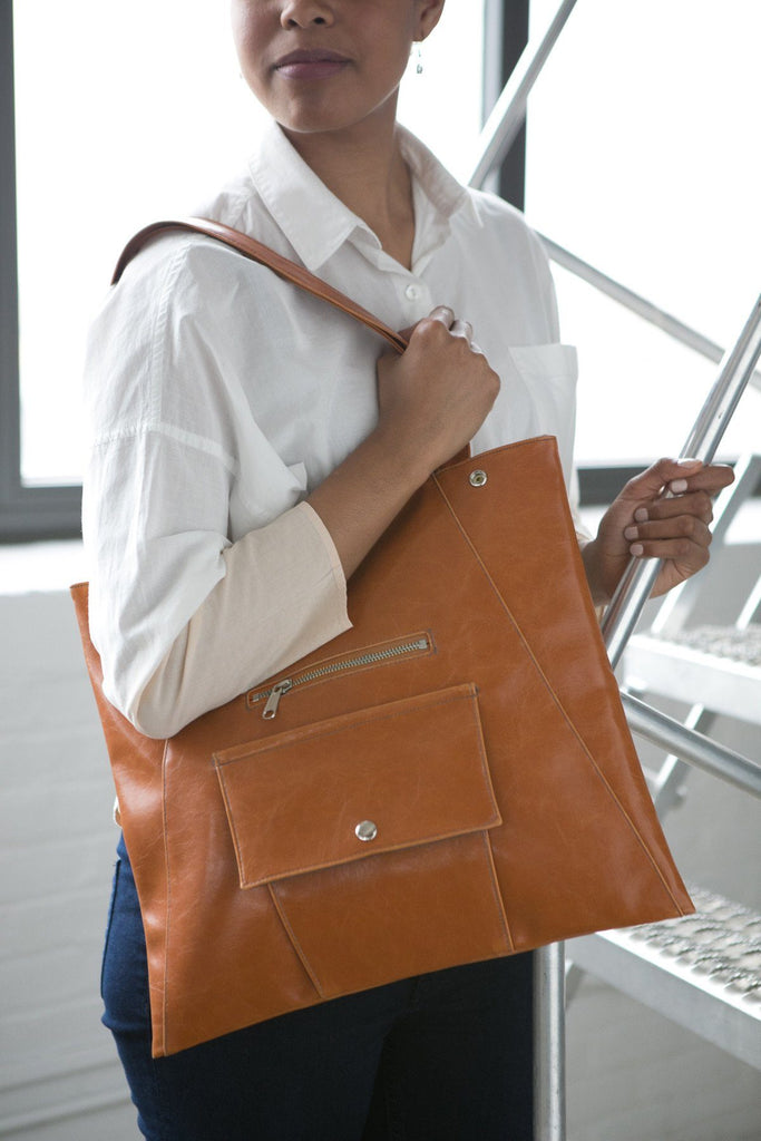Womens Tote Bag - Metier Tote - Butterscotch vegan tote made in usa