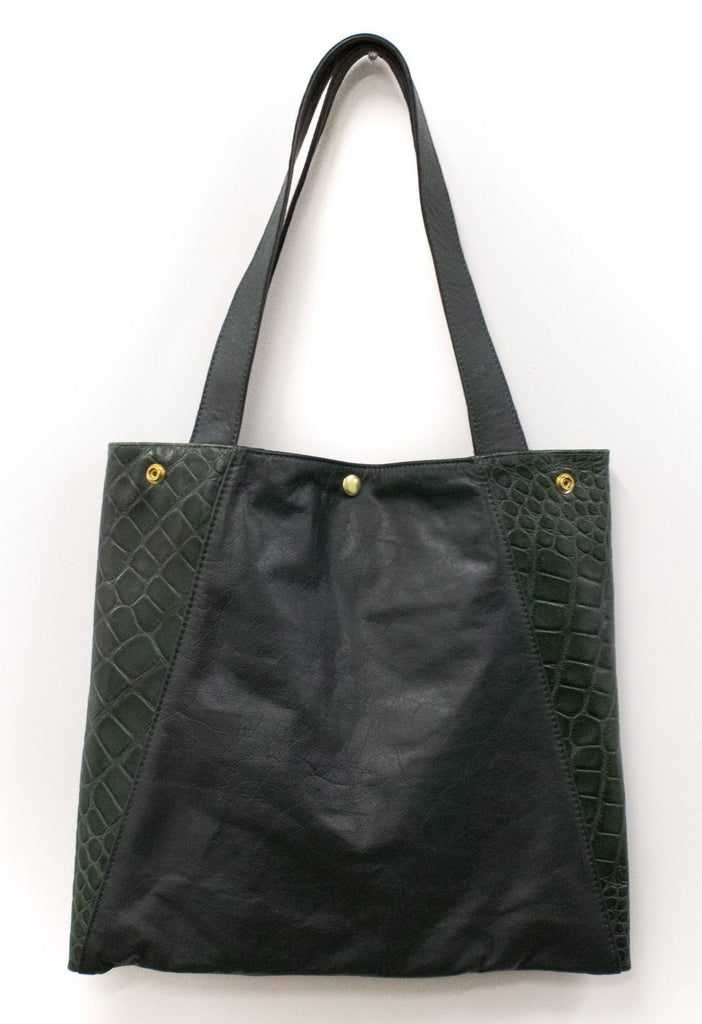 Womens Tote Bag - Metier Tote - Hunter Green Leather With Crocodile made in usa