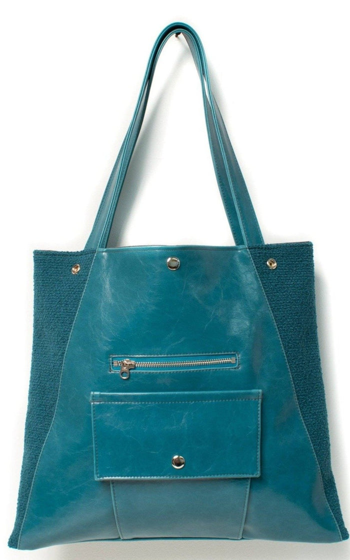 Womens Tote Bag - Metier Tote - Teal Boucle vegan made in usa