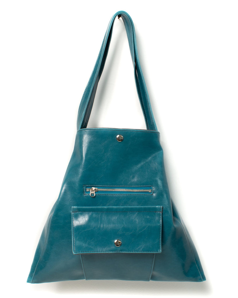 Womens Tote Bag - Metier Tote - Teal Vegan Leather made in usa
