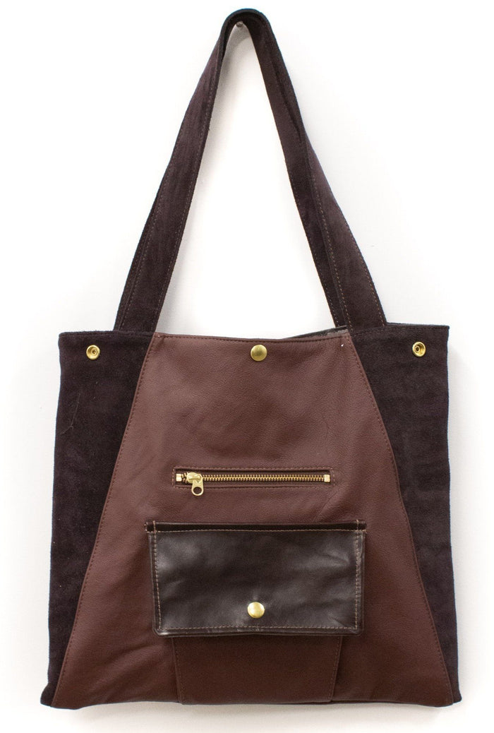Womens Tote Bag - Metier Tote - Wine Leather With Plum Suede made in usa