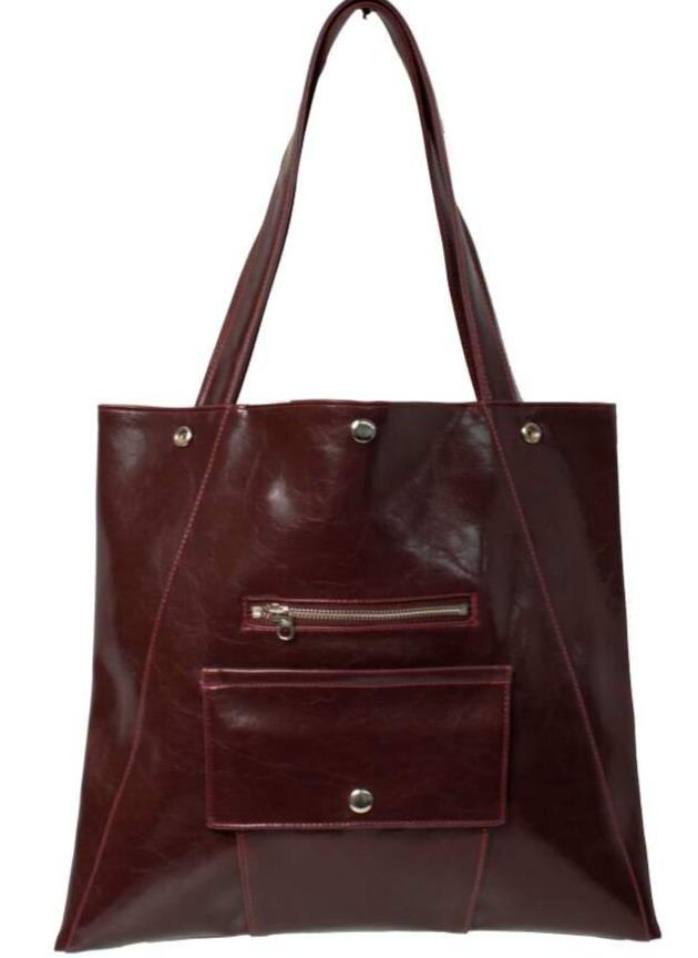 Womens Tote Bag - Metier Tote - Wine Vegan Leather