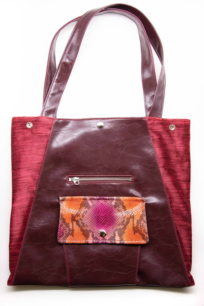 Womens Tote Bag - Metier Tote - Wine With Python Velvet made in usa