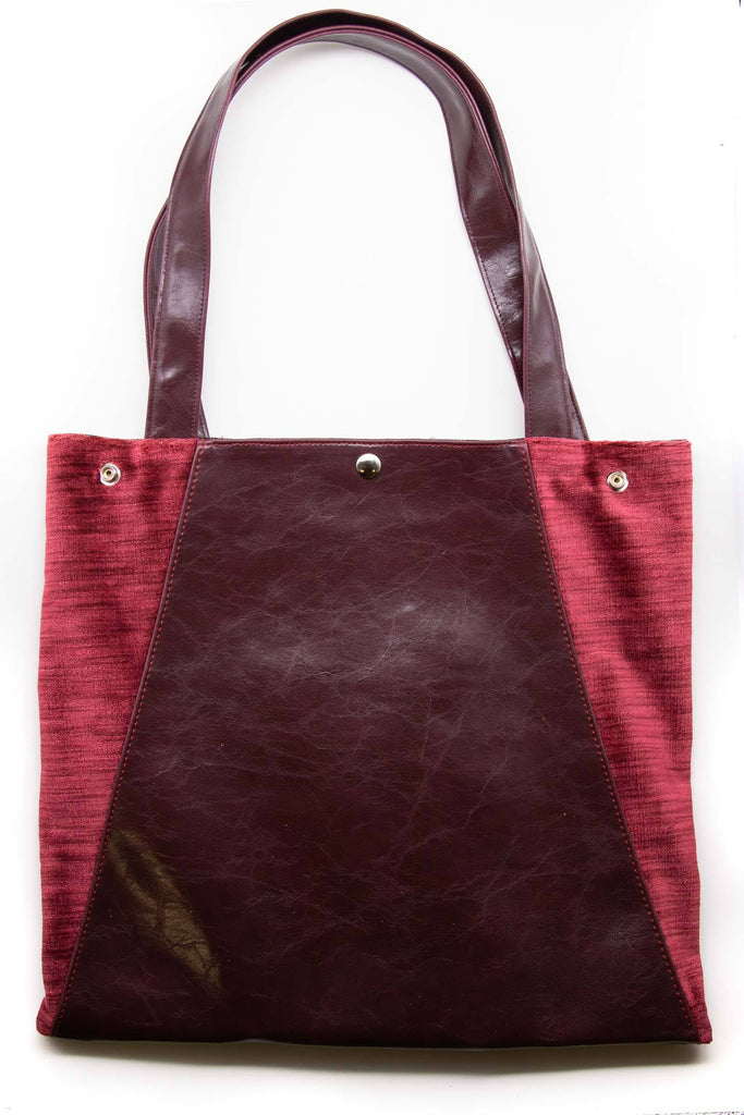 Womens Tote Bag - Metier Tote - Wine With Python Velvet