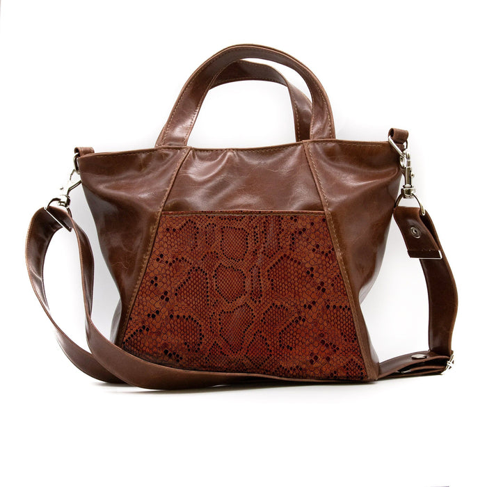 Womens Tote Bag - Mini Troubadour Tote - Ale Brown With Brown Python Leather made in usa