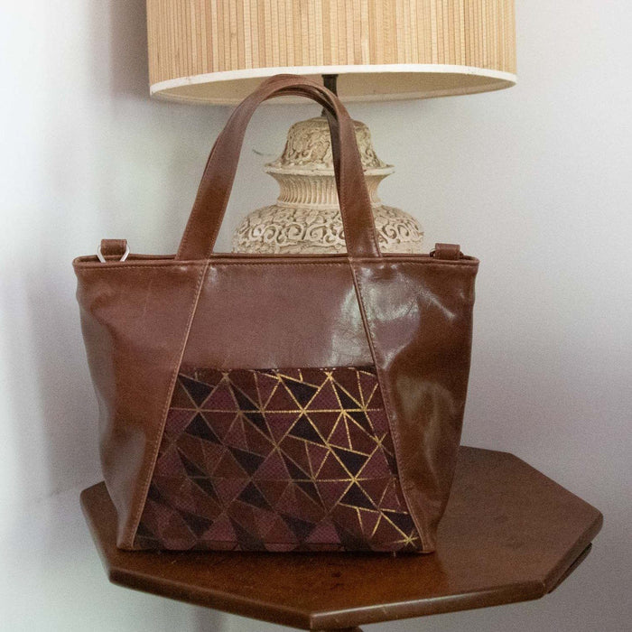 Womens Tote Bag - Mini Troubadour Tote - Ale Brown With Plum Geometric