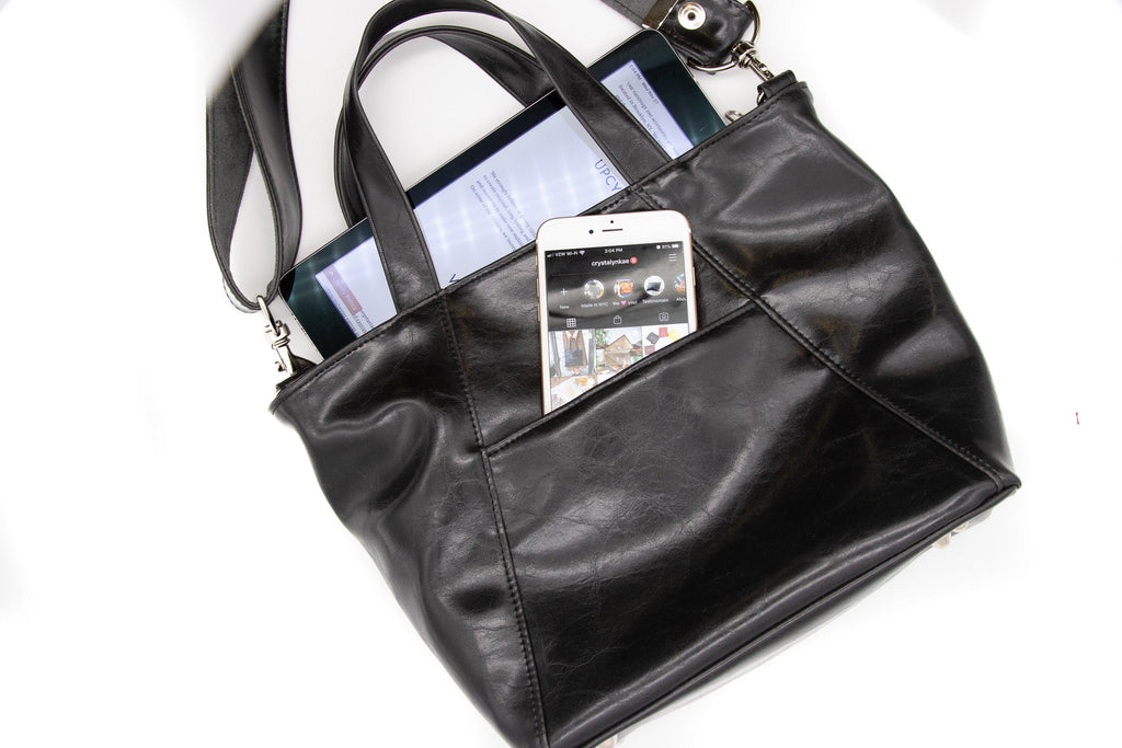 Womens Tote Bag - Mini Troubadour Tote- Black Vegan Leather