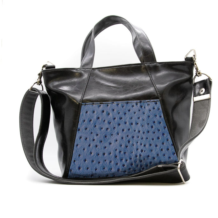Womens Tote Bag - Mini Troubadour Tote- Black With Cobalt Blue Ostrich-Embossed Leather made in usa