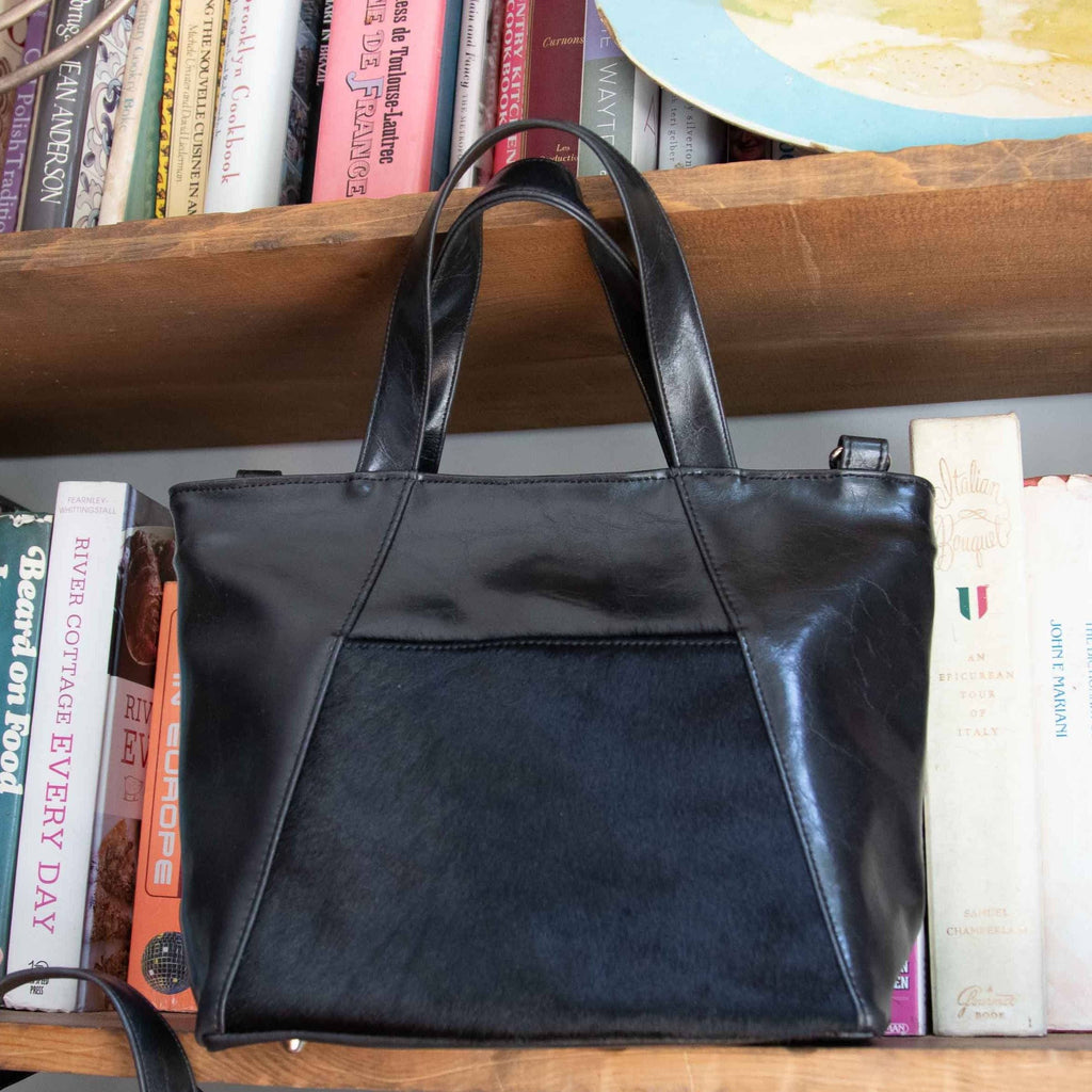 Womens Tote Bag - Mini Troubadour Tote- Black With Ponyhair Leather