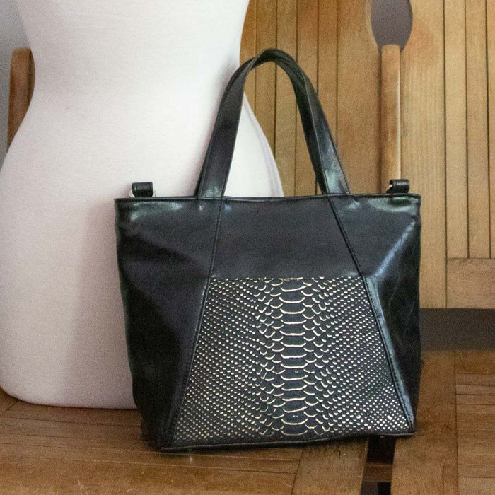 Womens Tote Bag - Mini Troubadour Tote- Black With Snake Texture Gold Metallic Leather made in usa purse