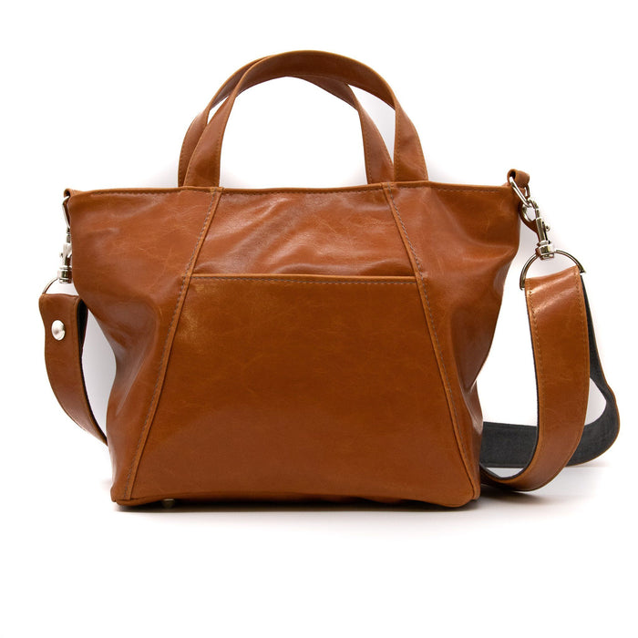 Womens Tote Bag - Mini Troubadour Tote - Butterscotch Vegan Leather made in usa