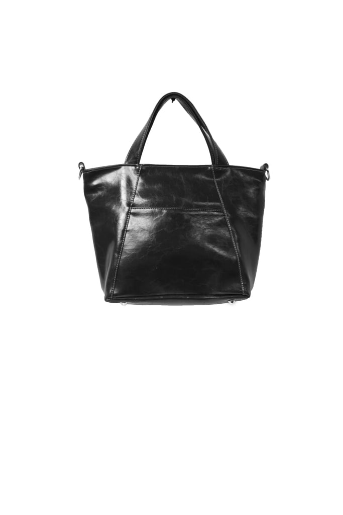 Womens Tote Bag - Troubadour Tote - Black Vegan Leather made in usa