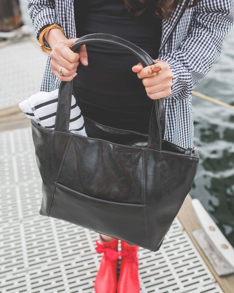 Womens Tote Bag - Troubadour Tote - Black Vegan Leather