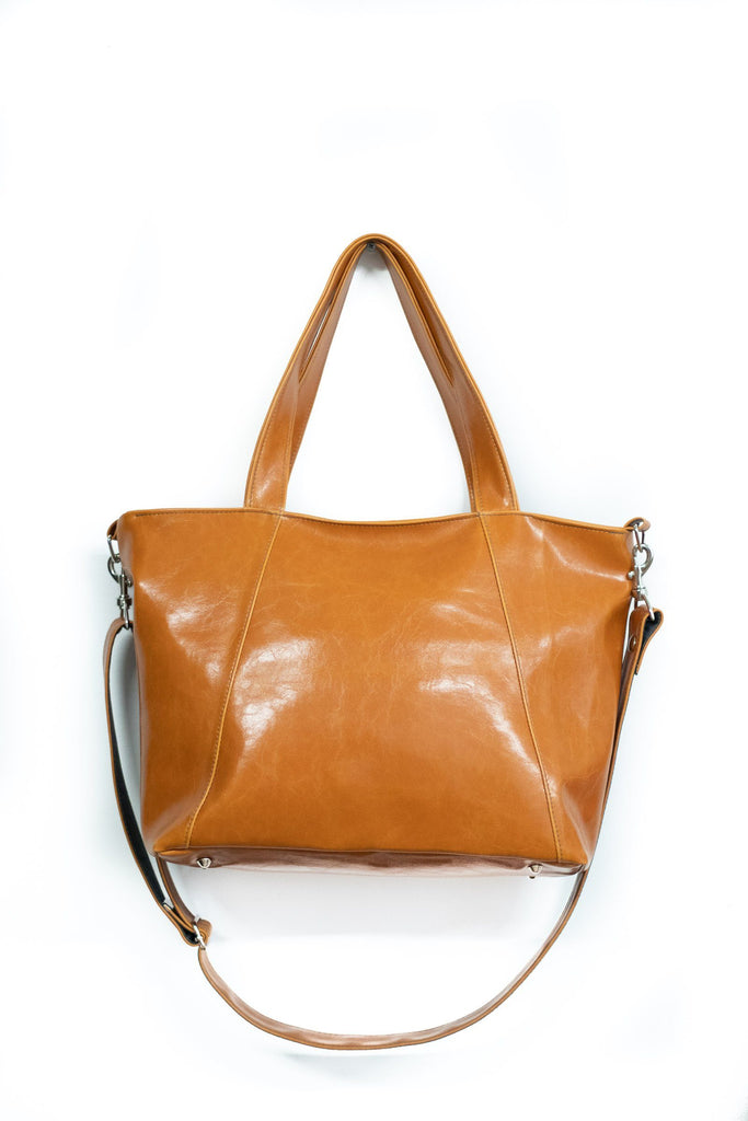 Womens Tote Bag - Troubadour Tote - Butterscotch Vegan Leather made in usa