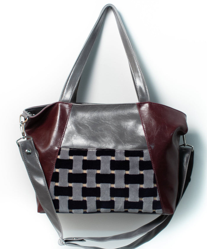 Womens Tote Bag - Troubadour Tote - Wine And Grey With Basketweave Velvet