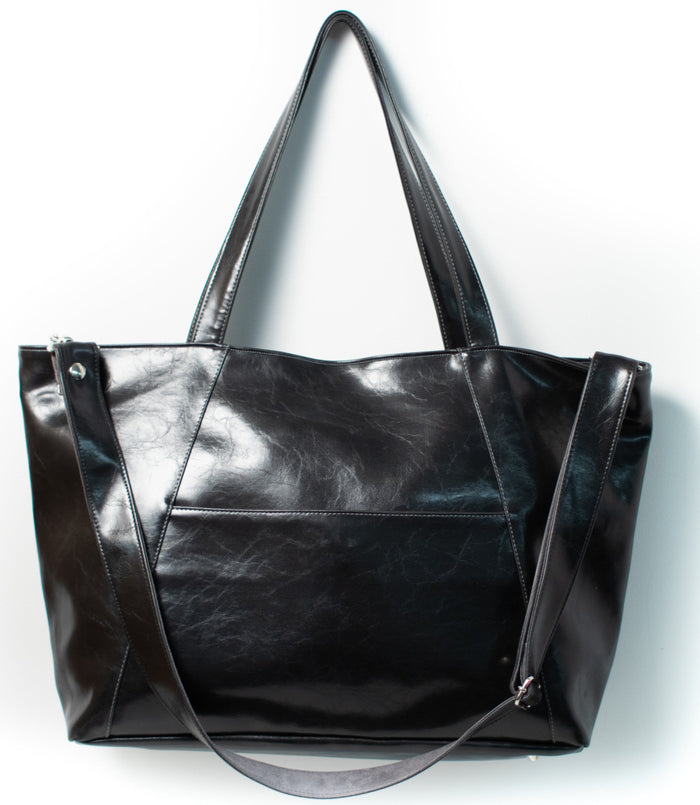 Womens overnight Tote Bag - XL Troubadour Weekender Tote - Black Vegan Leather made in usa
