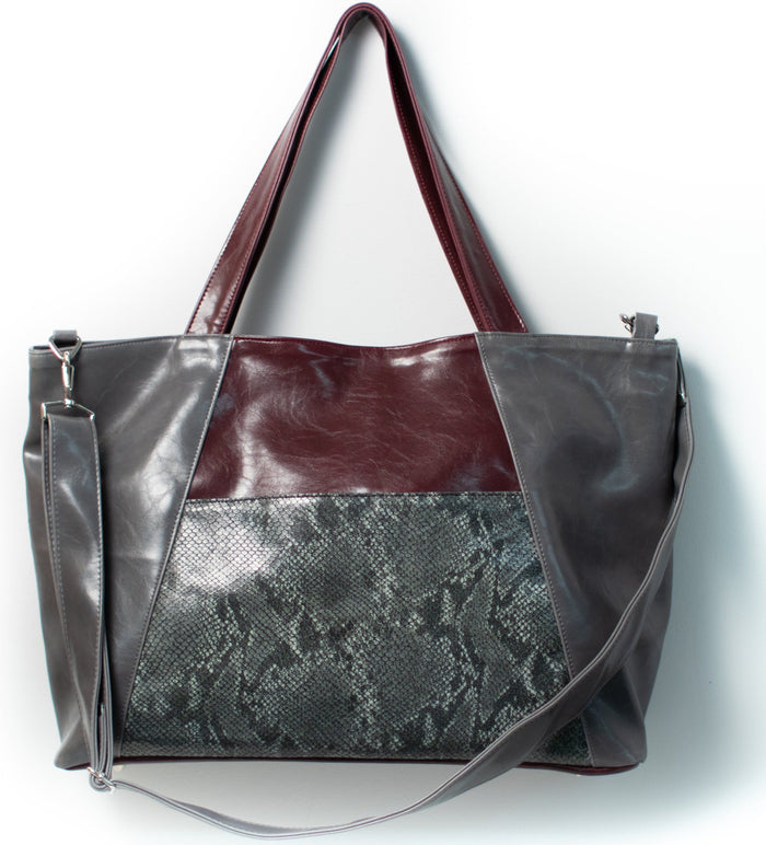 Womens overnight Tote Bag - XL Troubadour Weekender Tote - Grey And Wine With Pewter Snakeskin