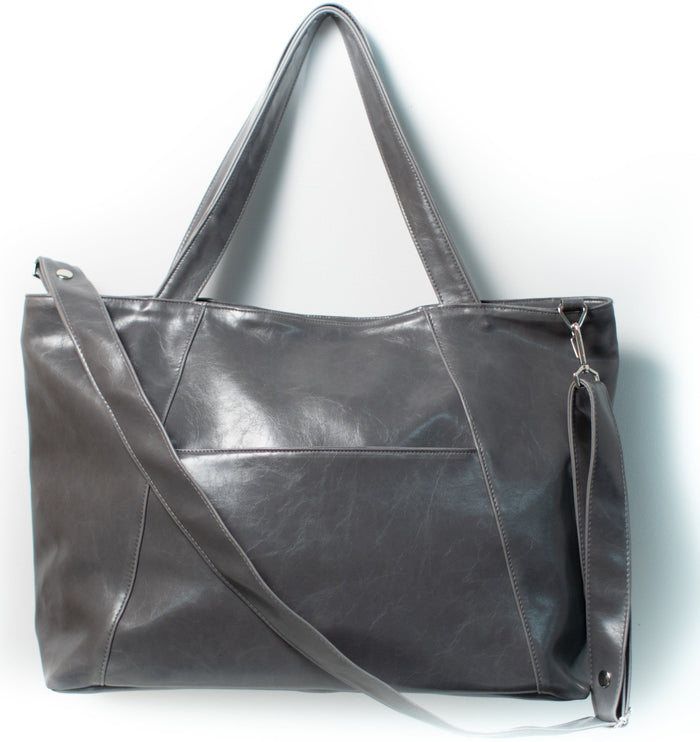 Womens  overnight Tote Bag - XL Troubadour Weekender Tote - Grey Vegan Leather made in usa