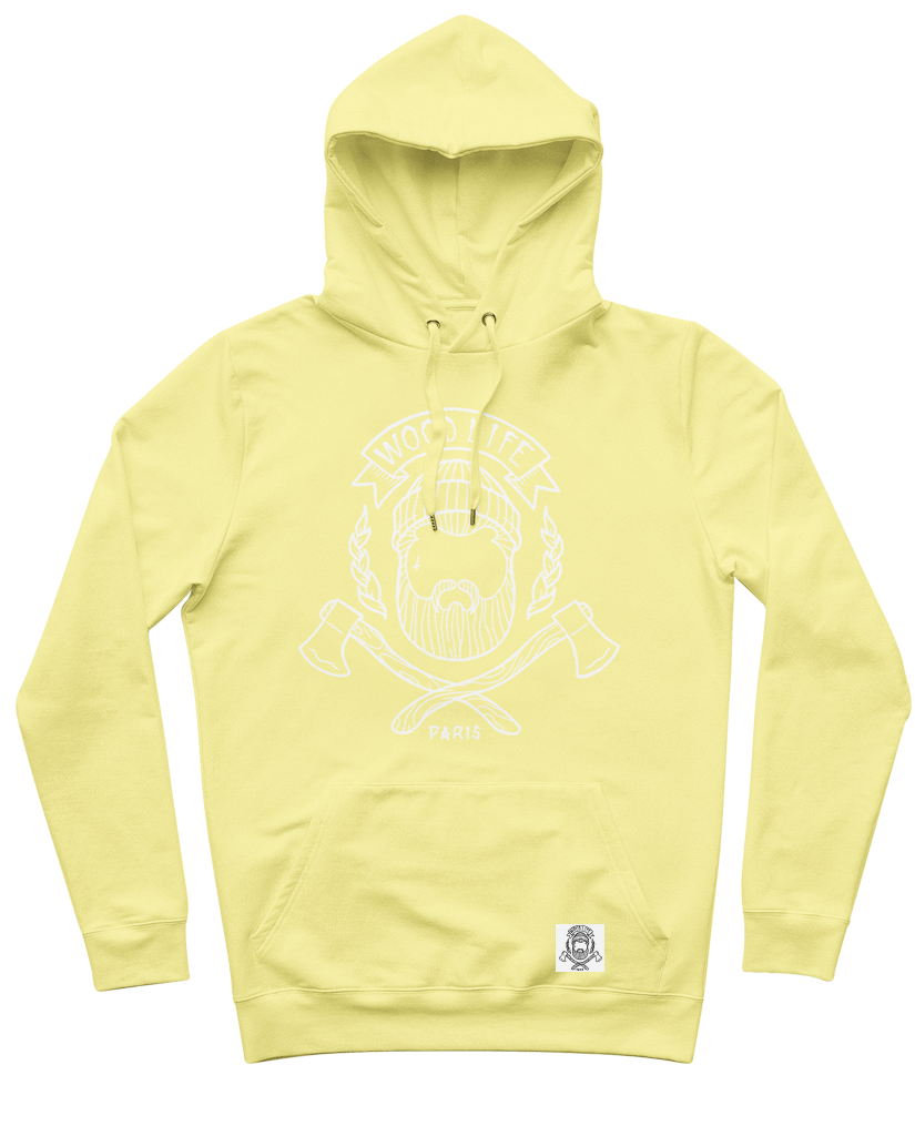 "Sweat capuche ""Woodlife"" - Jaune Sorbet/Blanc - Woodlife les Bûcherons"
