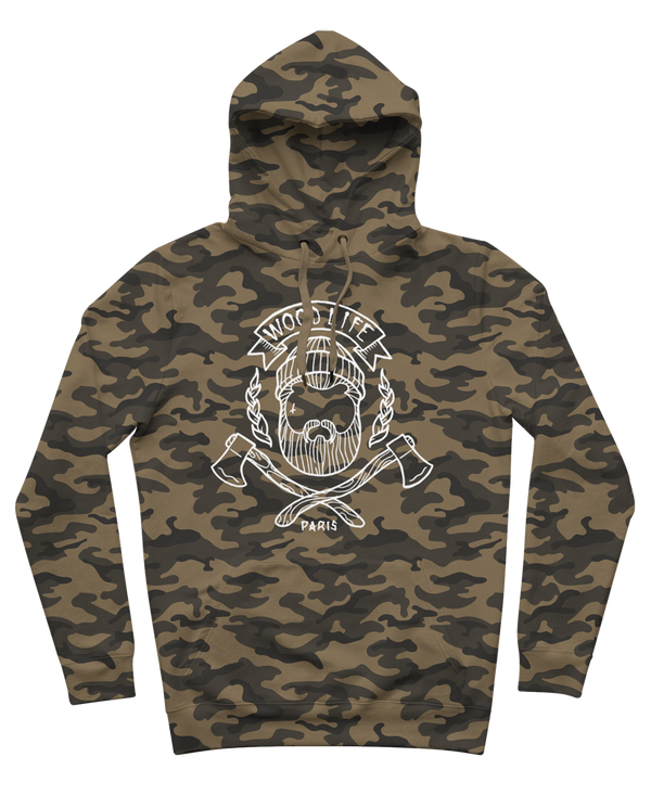 "SWEAT-CAPUCHE | ""Woodlife"" - Camo/Blanc - Woodlife - Les Bûcherons"