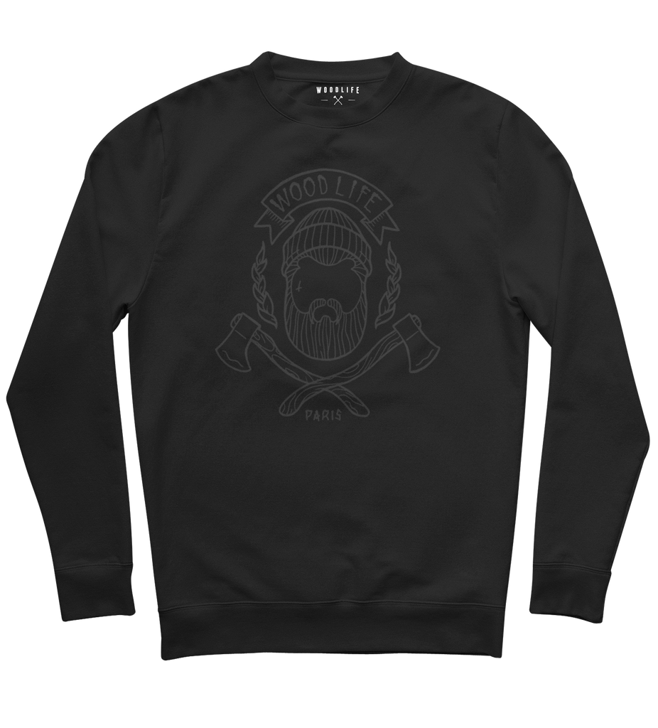 "SWEAT-SHIRT COL ROND | ""Woodlife"" - Noir/Noir - Woodlife - Les Bûcherons"