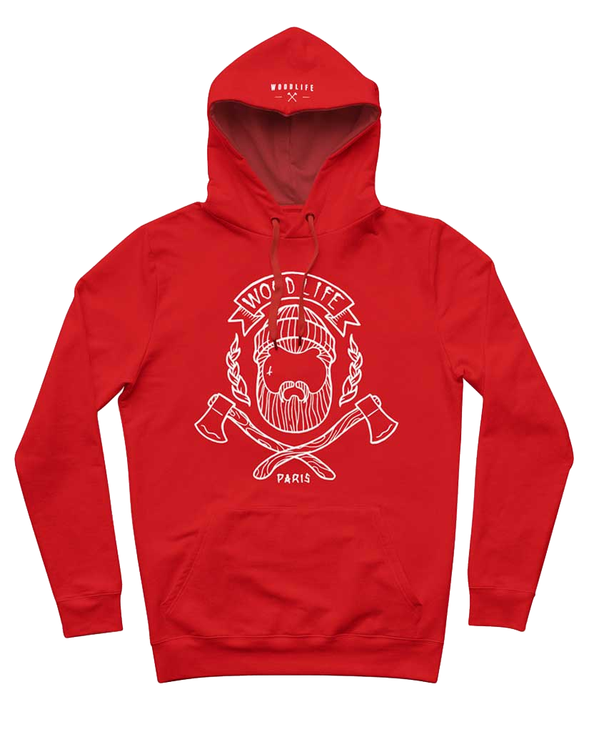 Sweat Capuche Woodlife - Rouge/blanc Face - Woodlife - Les Bûcherons