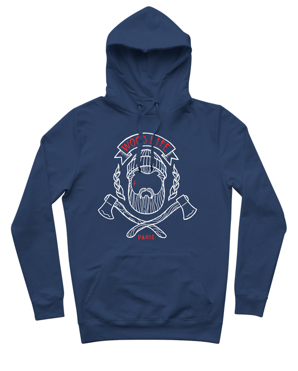 "Sweat capuche ""Woodlife"" - Bleu / Blanc / Rouge - Woodlife - Les Bûcherons"