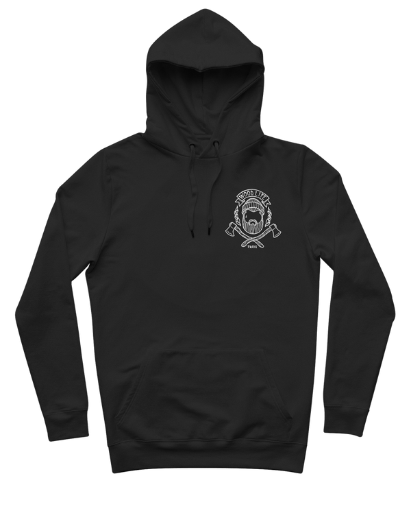 "Sweat capuche ""Woodlife grand coeur"" - Noir/Blanc - Woodlife - Les Bûcherons"