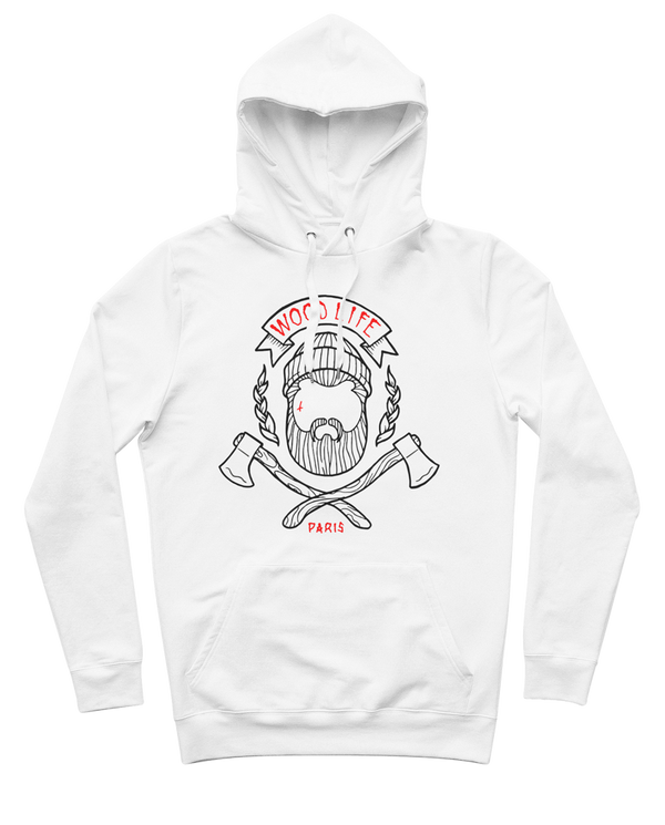 "Sweat capuche ""Woodlife"" - Blanc / Bleu / Rouge - Woodlife - Les Bûcherons"