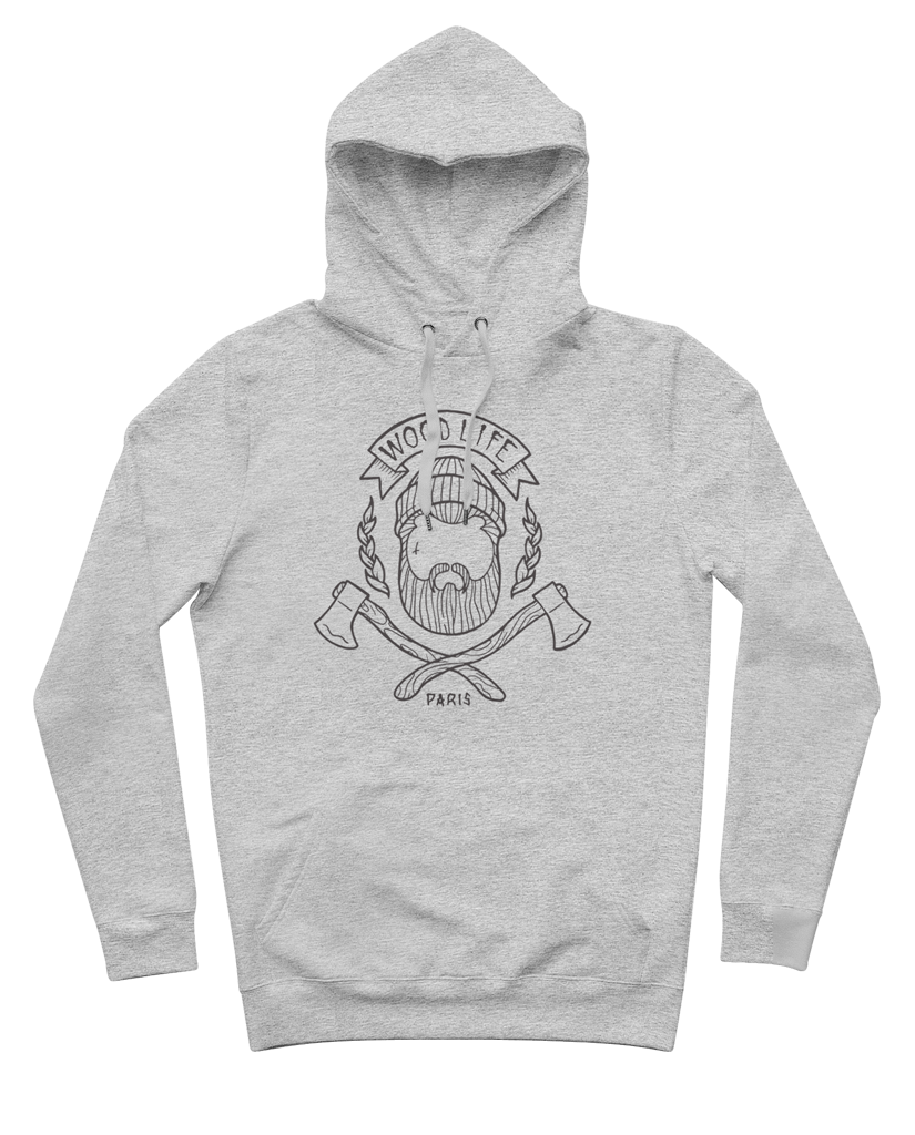 "Sweat capuche ""Woodlife""  - Gris/Noir face - Woodlife - Les Bûcherons"