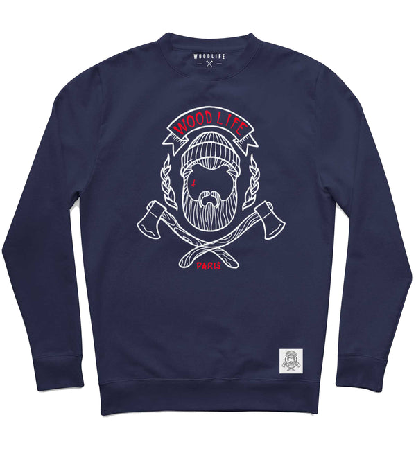 "Sweat col rond - ""Woodlife"" - Marine / Blanc / Rouge - Woodlife - Les Bûcherons"
