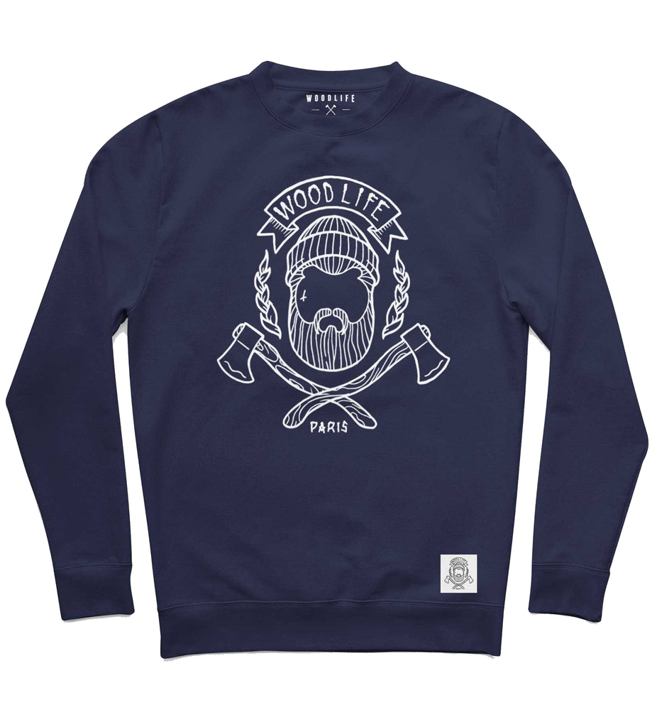 "Sweat col rond - ""Woodlife"" - Marine - Woodlife - Les Bûcherons"