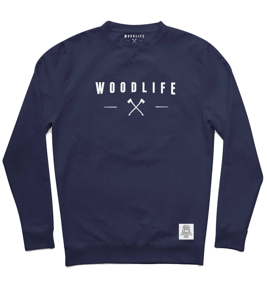 "Sweat col rond - ""Woodlife Haches"" - Navy - Woodlife - Les Bûcherons"