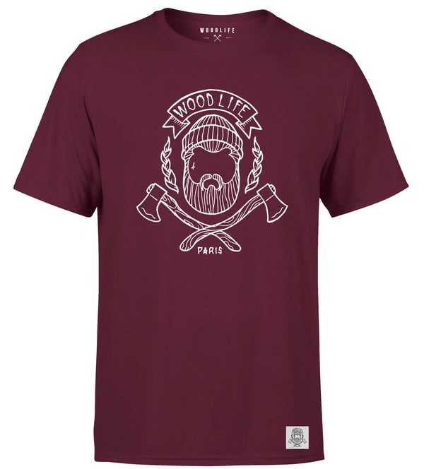T Shirt Woodlife logo - Bordeaux - Woodlife - Les Bûcherons