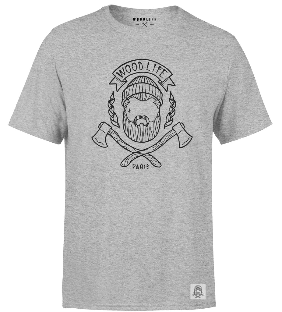 T Shirt Woodlife logo - Gris chiné - Woodlife - Les Bûcherons