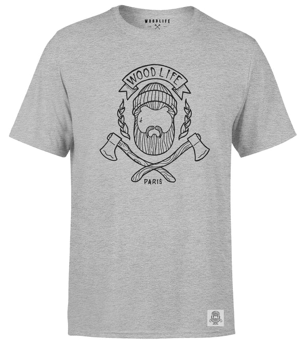 T-SHIRT Woodlife logo - Gris chiné - Woodlife - Les Bûcherons