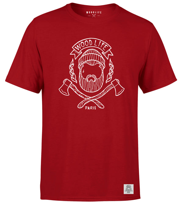 T Shirt Woodlife logo - Rouge / blanc - Woodlife - Les Bûcherons