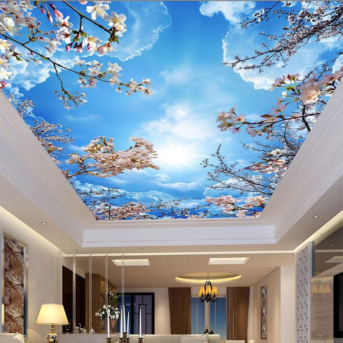 3d Blue Skies Cherry Blossoms Ceiling Decor Wallpaper Stickers