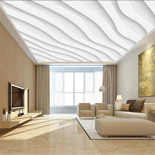 3D Ceiling - Ceiling White Wave Atmosphere Self-Adhesive Wallpaper Stickers
