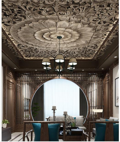 3D Ceiling - Classical Traditional Designs Ceiling Self-Adhesive Wallpaper Stickers