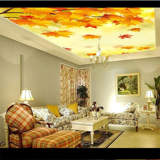 3D Ceiling - Fall Leaves & Maple Tree Themed Ceiling Wallpaper Sticker