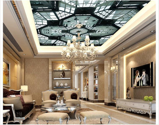 3D Ceiling - Modern Black & White Mural Pattern Self-Adhesive Ceiling Stickers