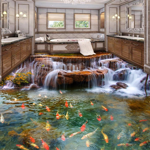 3D Flooring - 3D Carp Waterfall Self-Adhesive Waterproof Wall Stickers