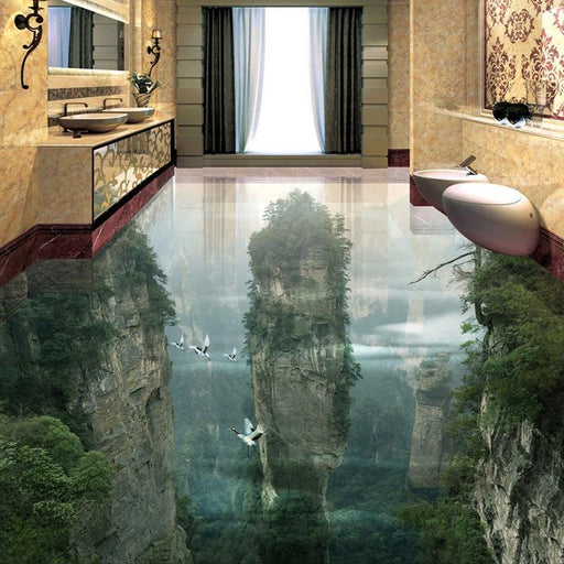 3D Flooring - 3D Cliffs & Mountain Peaks Floor Tiles Stickers