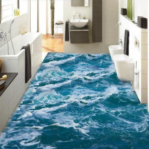 3D Flooring - 3D Sea Waves Self-Adhesive Floor Wallpaper Stickers