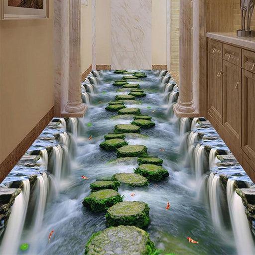 3D Flooring - 3D Stepping Stones Non-Slip & Waterproof Floor Wallpaper Stickers