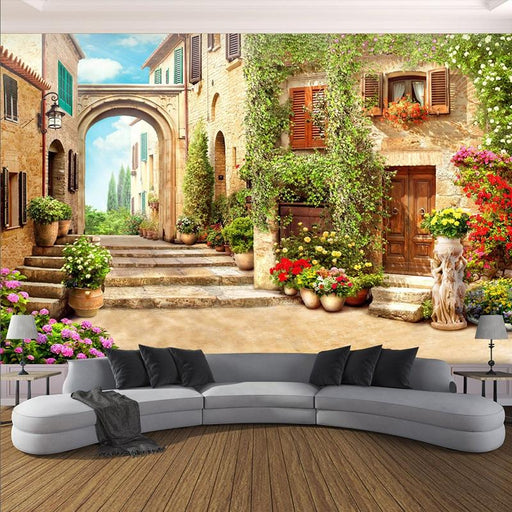 3D Wallpaper - 3D European Town Street Background Wallpaper