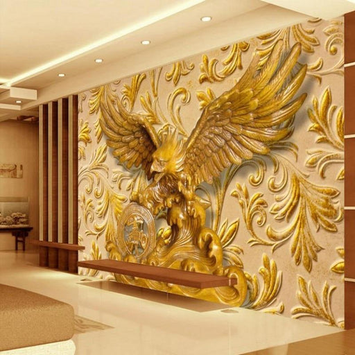 3D Wallpaper - 3D Golden Eagle Wall Mural Wallpaper Sticker